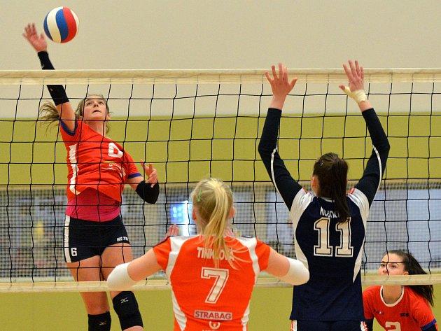 Volejbalové juniorky KCTM Vysočina (v červeném) včera sehrály vyrovnané zápasy se Šternberkem. První vyhrály 3:2, druhý ztratily stejným poměrem.