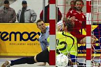 Roman Mareš (v červeném) zničil ve druhém čtvrtfinálovém utkání Futsal cupu slovenský tým Slov – Matic Bratislava. Soupeři nasázel chrudimský střelec celkem čtyři góly.