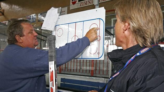Josef Horešovský pro letošní sezonu změnil trenérského parťáka. Místo Jiřího Otoupalíka (vpravo) mu s určováním taktiky nově pomáhá Roman Mejzlík.