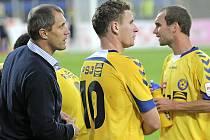 Minulý zápas se Spartou B se střelecky probudil útočník Muris Mešanovič (uprostřed). Prosadí se i v utkání s Opavou?