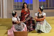 Hraběnka Marica. Tato opereta v podání ústeckého Severočeského divadla se snaží po choreografické stránce využít celou plochu jeviště.