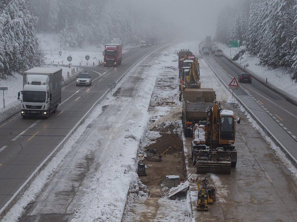Opravovaný úsek dálnice D1 mezi Větrným Jeníkovem a Humpolcem.