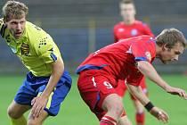 Trenér jihlavských fotbalistů Karol Marko udělal v sestavě i rozestavení několik změn. Jednou z nich bylo také posunutí záložníka Michala Veselého (ve žlutém) na pravý kraj obrany.