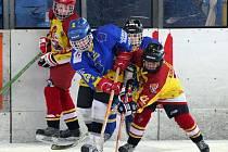 Malí hokejisté sváděli tvrdé bitvy o každý milimetr ledu.