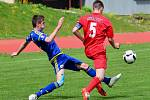Jihlavský výběr U19 (v modrém) na svém hřišti překvapil favorizovanou Ostravu, které povolil pouze zisk jednoho bodu. Ty zbylé dva brala po penaltách Vysočina.