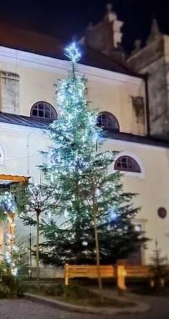 Vánoční strom v Počátkách.