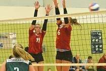Po nepovedeném prvním utkání se povedl výběru KCTM Vysočina (v červených dresech) druhý zápas, který i přes nepříznivě vyvíjející se stav dotáhl do vítězného konce.