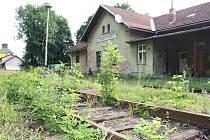 Kolejiště na nádraží v Polné zarostlo plevelem. To, že tam vlak už léta nejezdí, je patrné na první pohled.