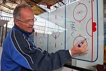 Teorie končí, začíná ostrá praxe. Trenér juniorů Karel Dvořák vysvětloval v přípravě svému týmu spoustu věcí u tabule. Jeho svěřenci však musí poznatky přenést na led.