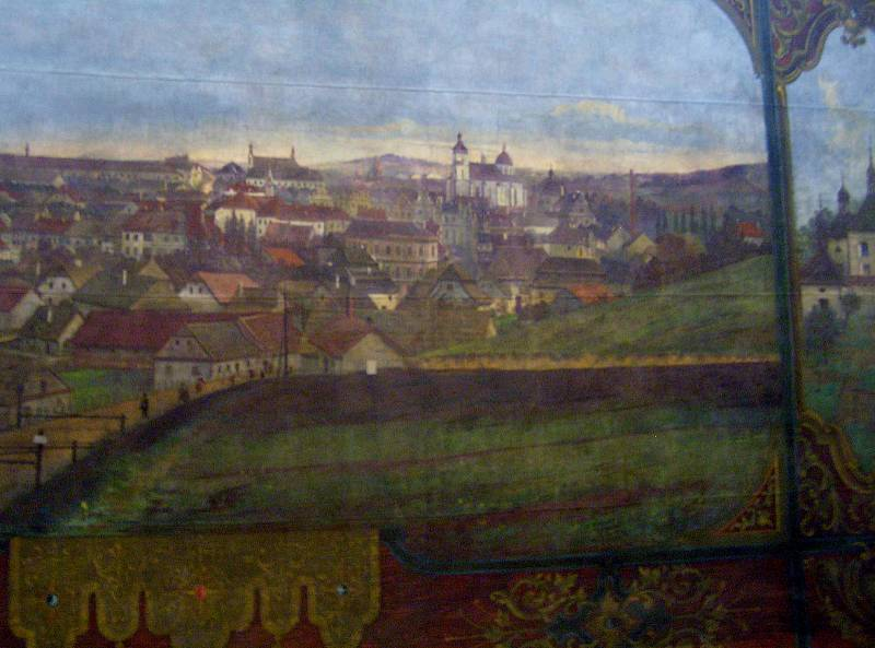 Tak vypadal starý tehdy ještě Německý Brod podle autora opony koncem 19. století.