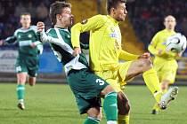 Petr Faldyna (ve žlutém) už v letošní sezoně nastřílel 13 gólů. Ten zatím poslední si připsal v Opavě.