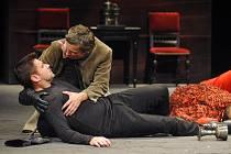 Hamlet umírá v náruči přítele Horacia. Opodál leží mrtvoly královny Gertrudy a krále Claudia.