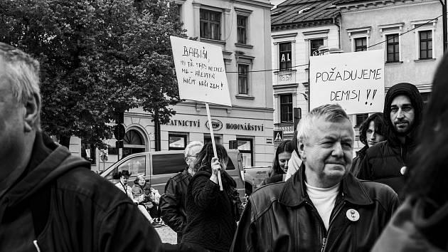 Protesty na náměstí v Jihlavě.