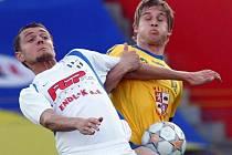 Snímek ze zápasu druhé nejvyšší fotbalové soutěže mezi FC Vysočinou Jihlava a HFK Olomouc. Jihlava vyhrála těsně 1:0.