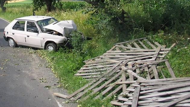 Žena se v autě oháněla po psovi a nabourala u Komorovic na Pelhřimovsku.