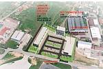 Vizualizace Obchodního centra Polná - nadhled. Zdroj: www.ocpolna.cz