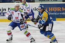 Zatímco hokejové Ústí nad Labem už má příslušnost k elitní osmičce soutěže jistou, hráči Horácké Slavie o ni usilovně bojují. Nebo bylo středeční utkání na severu Čech, ze kterého je naše momentka, v této sezoně už poslední?
