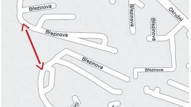 Plánované propojení sídliště Březinky.
