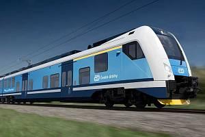 Vizualizace nových elektrických vlaků  pro Kraj  Vysočina.