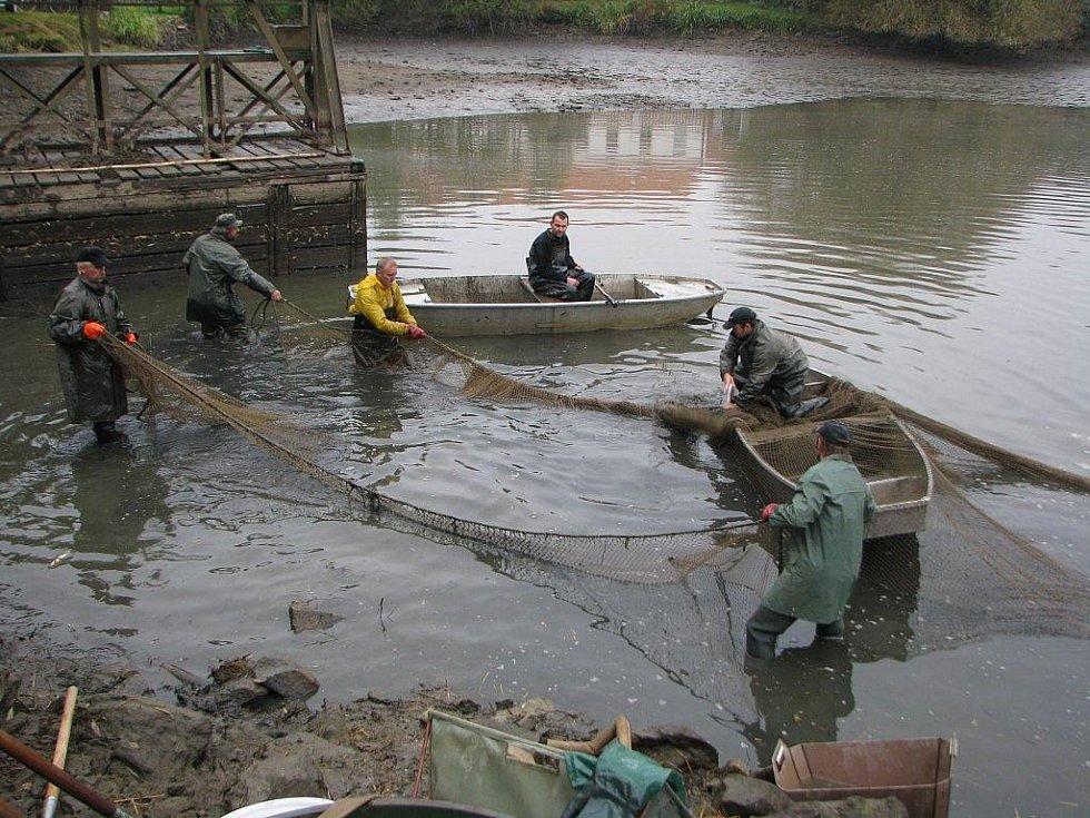 Výlov Štěpnického rybníka v Telči přilákal v sobotu dopoledne zástup zvědavců včetně rodin s dětmi.