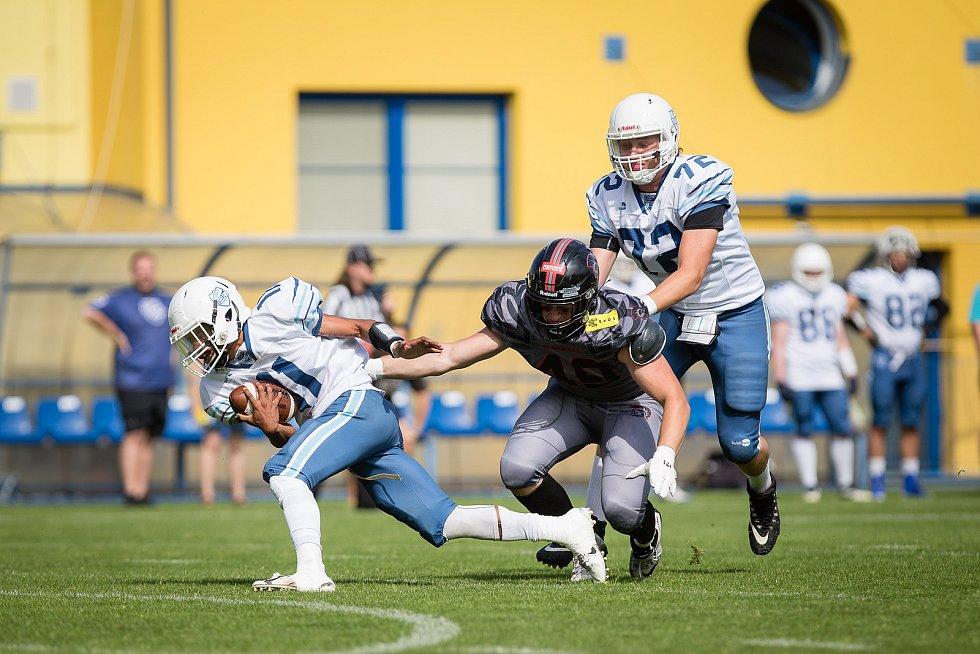 Utkání amerického fotbalu mezi Vysočina Gladiators a Ostrava Steelers.