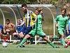Fotbalisté Dobronína (v pruhovaném) zvládli podzim v I. A třídě skupině A ze všech týmů z Jihlavska nejlépe.