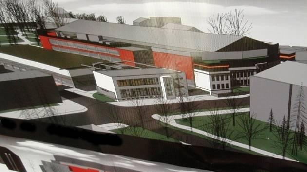 Budoucí možnou podobu Horáckého zimního stadionu představil na tiskové konferenci Vladimír Žák, autor návrhu.