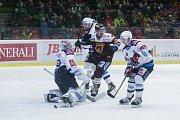 Zápas 43. kola hokejové extraligy mezi HC Dukla Jihlava a Piráty Chomutov.