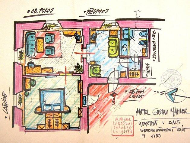 Plánek prezidentova apartmá.