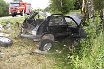 Opilý řidič havaroval mezi Radňovicemi a Žďárem nad Sázavou.
