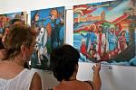 Prodejní výstava reprodukcí obrazů Karla Gotta v Jihlavě.