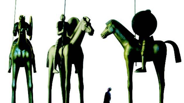 Jihlavský rytíř. Bronzová socha Jaroslava Róny u Jihlavanů zvítězila. Podle vedení města je však předražená.
