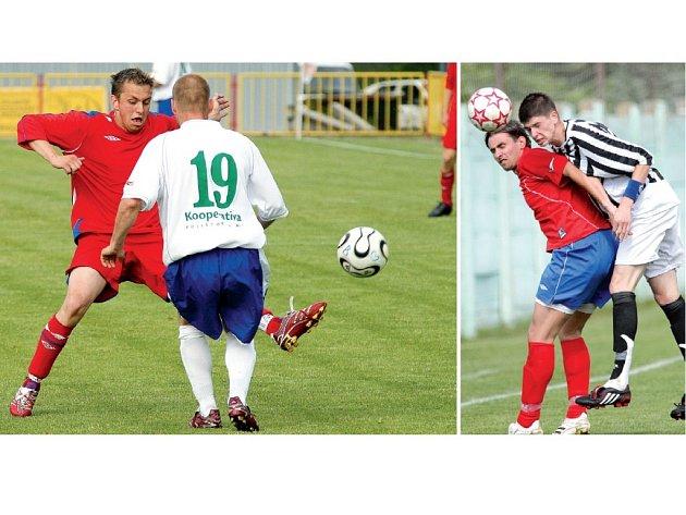 Třebíští fotbalisté (vlevo v červeném Radek Durda) si poradili s Boskovicemi vysoko 4:0 a mohou slavit záchranu v divizi. Jejich kolegové ze Žďáru (vpravo v pruhovaném Jakub Šindelka) však ještě mohli pomýšlet na postup do MSFL. Jenže remizovali v Líšni.