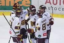 Hokejové utkání Chance ligy mezi HC Dukla Jihlava a HC Baník Sokolov.