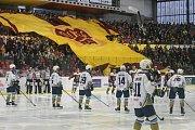 Zápas 1. kola baráže o hokejovou extraligu HC Dukla Jihlava a- HC Rytíři Kladno 27. března 2018 v Jihlavě.