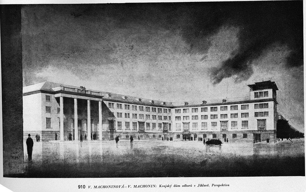 Návrh budovy, který zaslali manželé Machoninovi do architektonické soutěže.