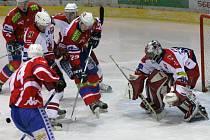 V Havlíčkově Brodě se dnes proti sobě postaví dva regionální soupeři.  Domácí Rebelové hostí Horáckou Slavii Třebíč (na snímku z loňského vzájemného zápasu).