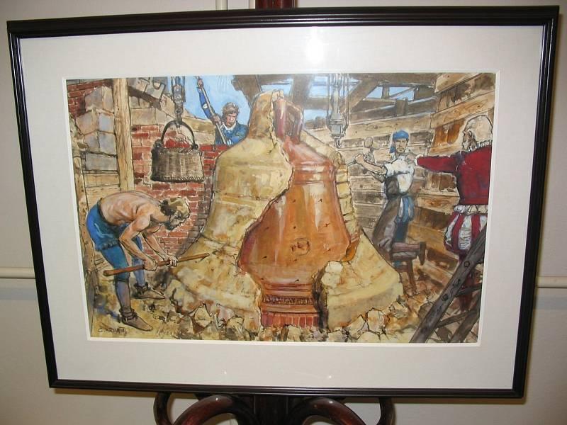 Zarámovaný obraz  Odlévání velkého zvonu zdílny jihlavského malíře Gustava Kruma. Výjev přestavuje litce, zbavující zvon pískové formy po vychladnutí zvonu vlicí jámě.