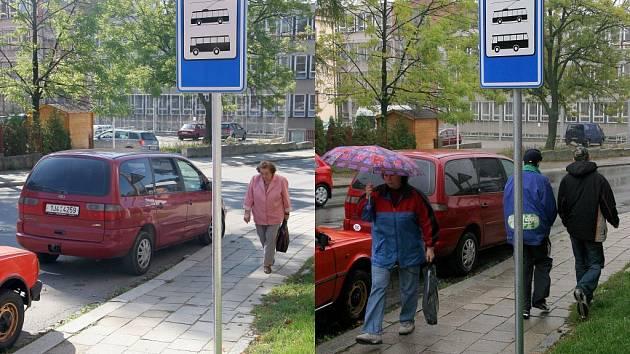 Snímek vlevo vyfotografoval Deník v Seifertově ulici 18. září. Snímek vpravo byl vyfocen 27. září. Jak je vidět, nic se nezměnilo. Nezodpovědní řidiči dál parkují za dopravní značkou, která signalizuje zastávku městské hromadné dopravy.