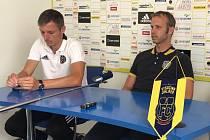 Trenér Jan Kameník a ředitel klubu Lukáš Vaculík (vpravo).