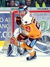 Hokejisté HC Energie (v zeleném) hostili Jihlavu. Wacey Rabbit