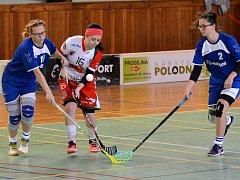 Florbalistky SK Jihlava prohrály s Brnem a zvítězily nad Dobruškou. Tereza Sedláčková (uprostřed) se střelecky prosadila jednou.