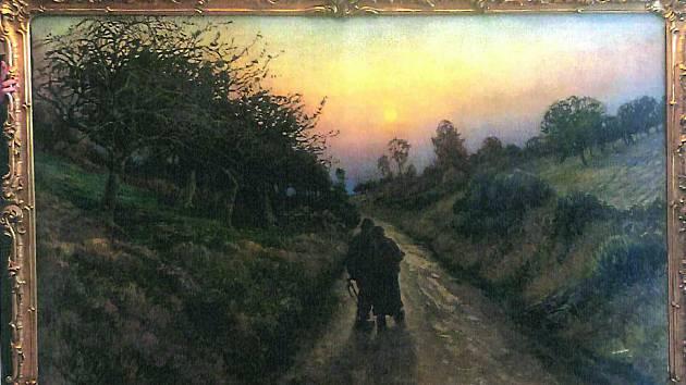 Cesta u Giverny při západu slunce. Impresionistická krajinomalba Václava Radimského pochází z roku 1898 a visí v obřadní síni polenské radnice.
