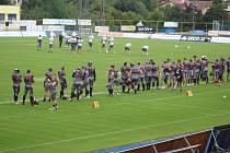 Utkání ligy amerického fotbalu Vysočina Gladiators - Brno Alligators.