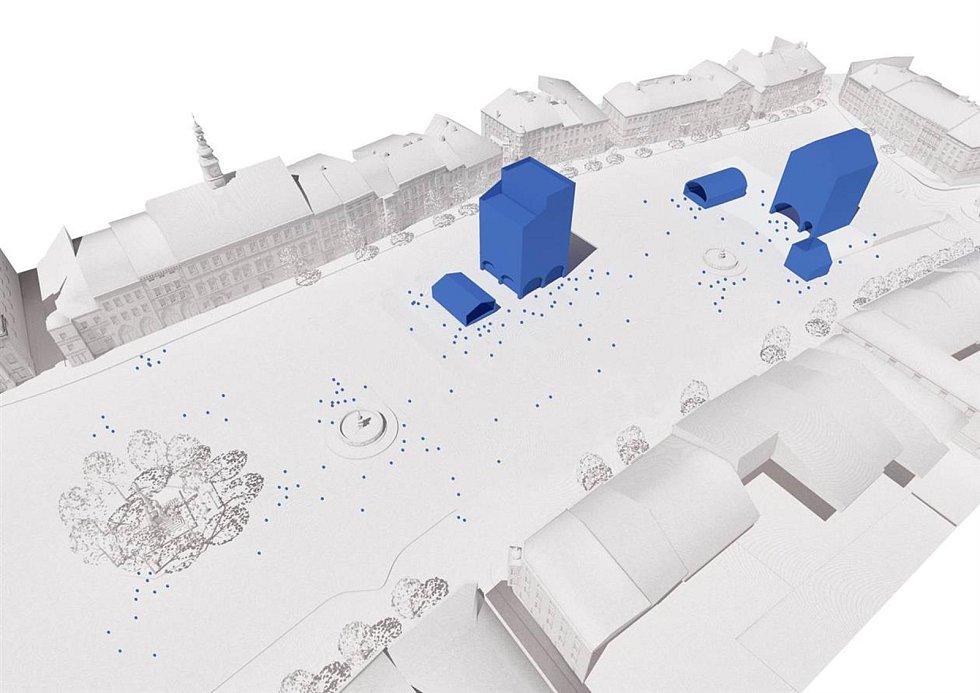 Návrh na budoucnost Masarykova náměstí, který představila studentka Anna Kreiza.