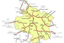 Po červeně vyznačených tratích bude možné od 10. června cestovat se zvýhodněnou jízdenkou REGIONet. V některých úsecích bude jízdenku možné využít i za hranicemi kraje. (klikněte na mapku pro zvětšení)