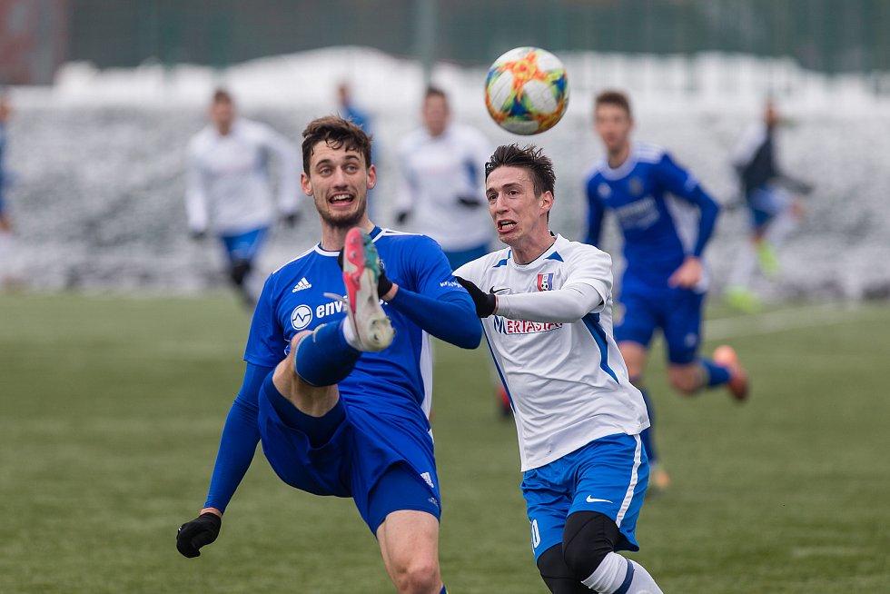 Tomáš Machálek přestoupil z Líšně do Blanska v zimě, na první branku v novém dresu stále čeká (na snímku v přípravném utkání proti Jihlavě).