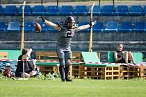 Během utkání amerického fotbalu mezi Vysočina Gladiators a Ostrava Steelers se osmdesátiyardovým touchdownem blýskl Jan Dunovský.