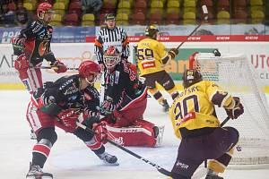 Hokejové utkání 14. kola Chance ligy mezi HC Dukla Jihlava a LHK Jestřábi Prostějov.