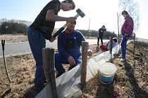 Milovníci přírody a dobrovolníci postavili v sobotu u silnice poblíž Kamenice zábrany a do země instalovali plastové kbelíky.